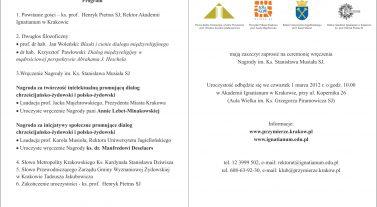 Zaproszenie na ceremonię wręczenia Nagrody im. ks. St. Musiała SJ - 01 marca 2012 r.
